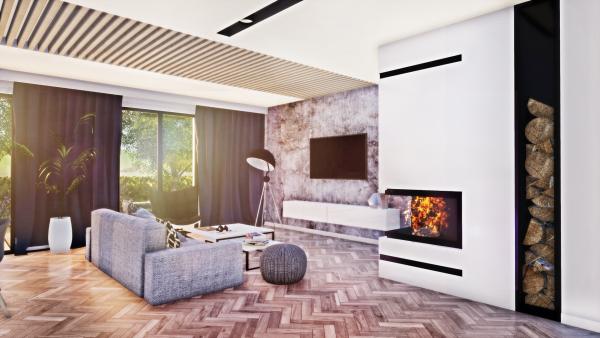 Salon z betonem i drewnem