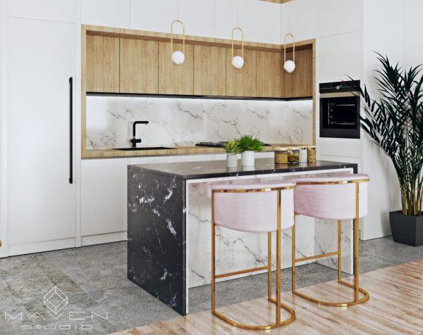 kuchnia w stylu skandynawskim ze złotem