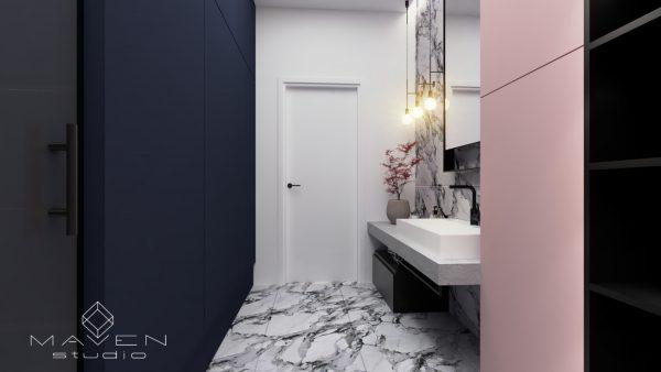 łazienka z pastelowym różem i granatem