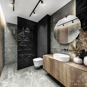 ciemna łazienka w marmurze