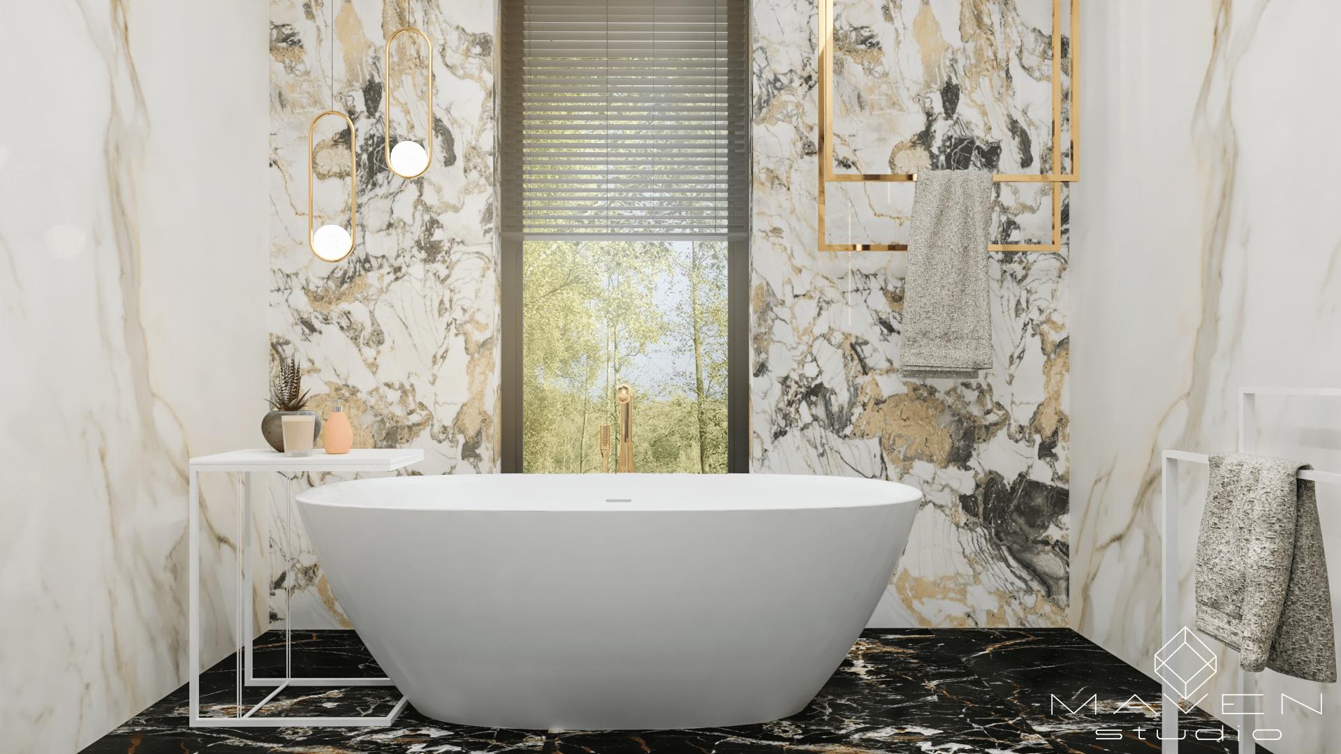 łazienka w marmurze